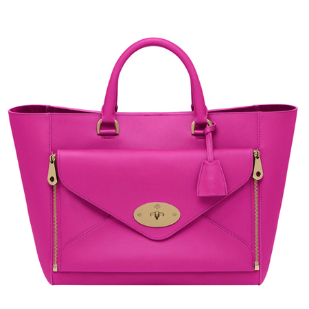 mulberry-willow-tote bag-pink-fuchsia-bright colour-designer handbag-spring summer 2014-handbag.com