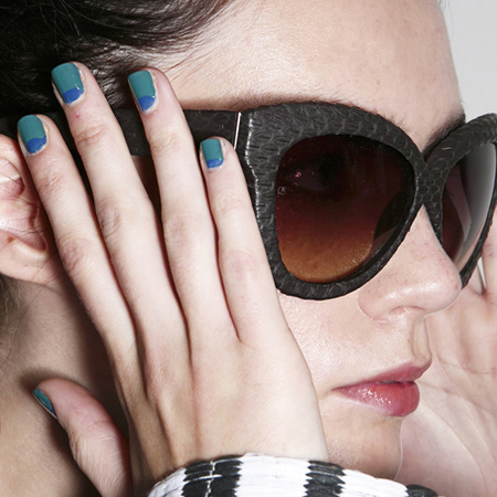 summer nail ideas-blue-green-ocean theme trend-nail art-half moon manicure-Peter Som fashion week ss14-handbag.com
