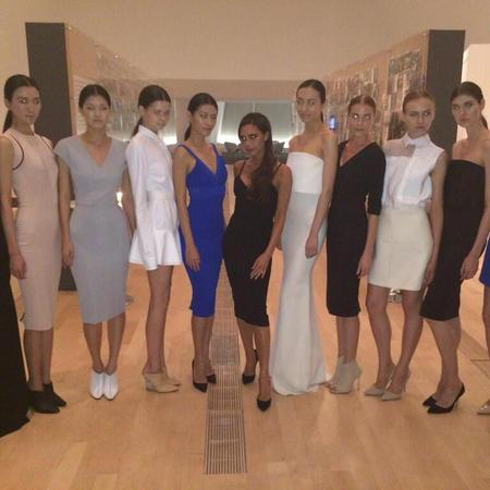 Dwarfed by tall fashion models