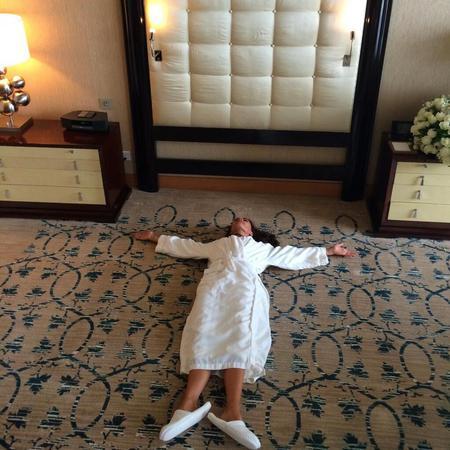 Sleeping on the hotel room floor