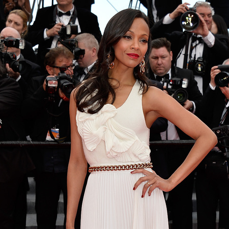 zoe saldana wearing victoria beckham -  - cannes 2014 dresses - shopping bag - handbag