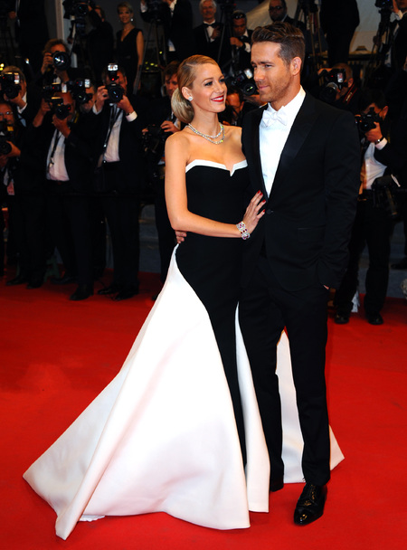 Black and white Gucci dress and Ryan Reynolds