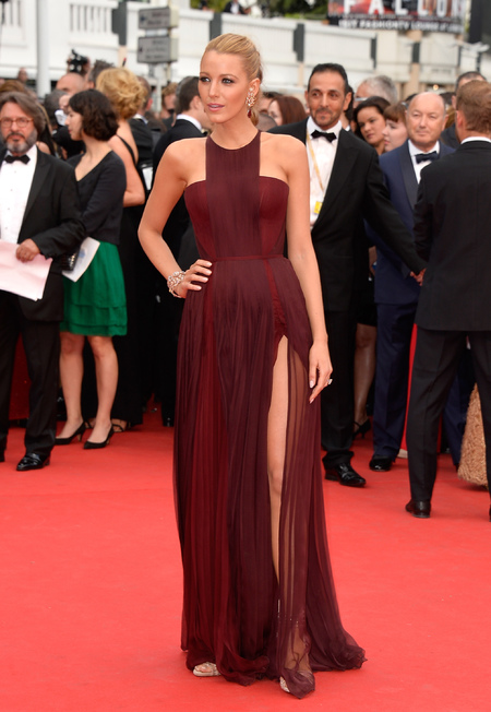 blake lively arrives at cannes in burgundy dress - shopping bag - handbag
