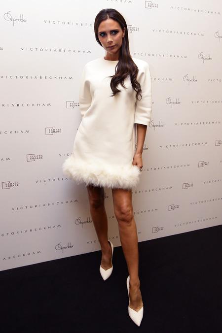 Victoria Beckham - white feather trim dress - on pedder - collection launch - singapore - handbag.com