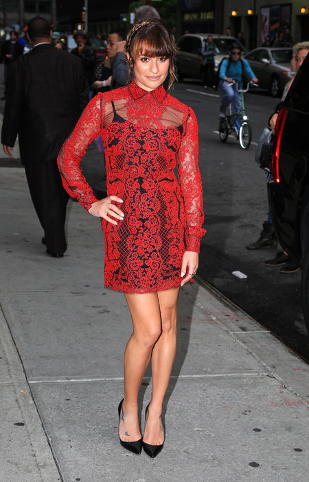 Lea Michele's see through red dress