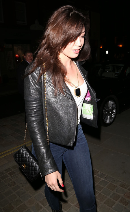 Daisy Lowe's mini black quilted Chanel bag