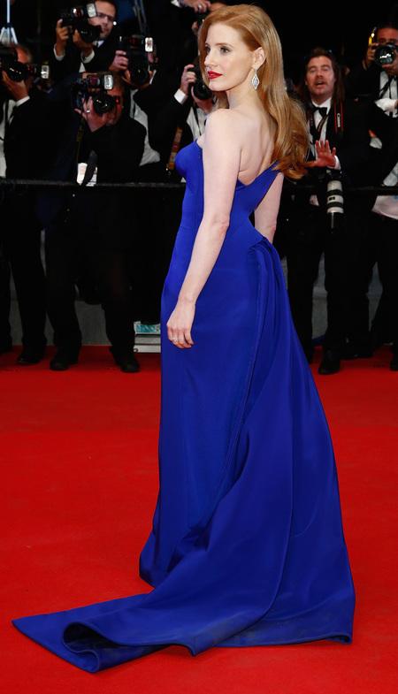 Jessica Chastain's blue Versace dress