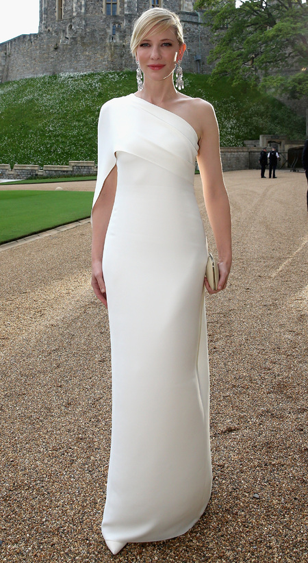 cate blanchet-white dress-prince william-the royal marsden hospital-charity dinner party-2014-handbag.com