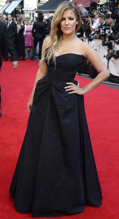 caroline flack-black dess-nude lipstick-red carpet-tv baftas 2014-British Academy Television Awards-handbag.com