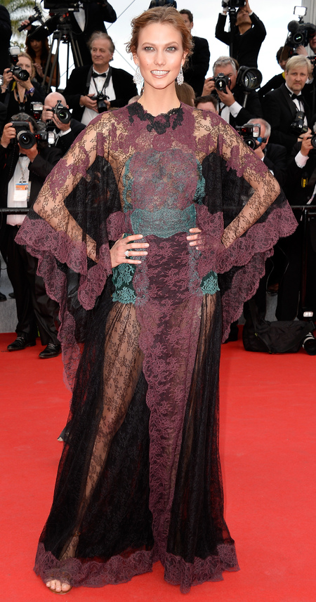 Karlie Kloss in sheer Valentino dress