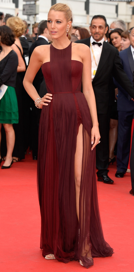 Blake Lively in burgundy Gucci dress