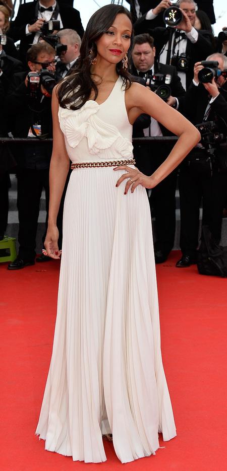 Zoe Saldana's white Victoria Beckham dress
