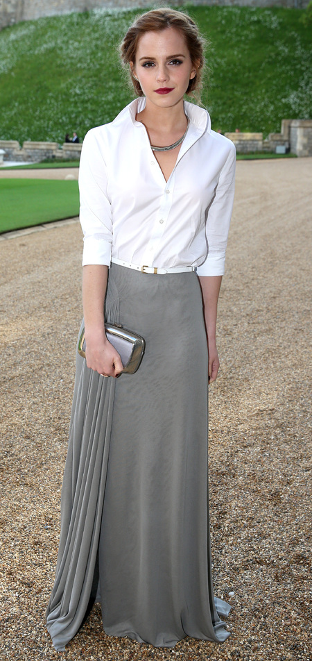 emma watson-white shirt and grey skirt-prince william-the royal marsden hospital-charity dinner party-2014-handbag.com
