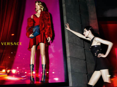 versace-autumn winter 2014-ad campaign-new handbags-red bag-anna ewers-stella tennant-models-handbag.com