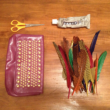 DIY fashion fix feather clutch bag - what you need - shopping bag - handbag