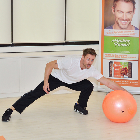 How to exercise at home thanks to Jessie Pavelka - Side lunge using the swiss ball  - gym bag - handbag
