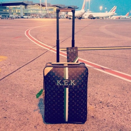 Karlie Kloss - cannes monogram louis vuitton luggage - instagram - handbag.com