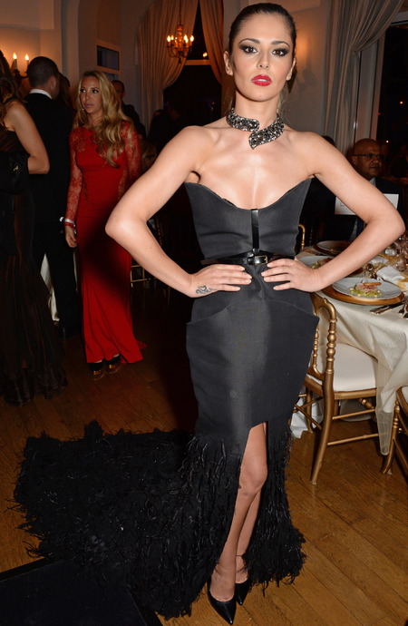 Cheryl Cole's black feather dress