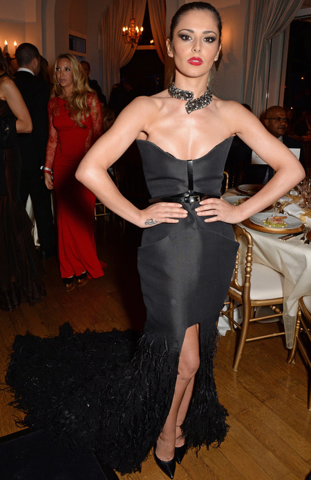 cheryl cole-cannes film festival 2014-black dress-feathers-red lipstick-glamour makeup-tight ponytail-plunging dress-handbag.com