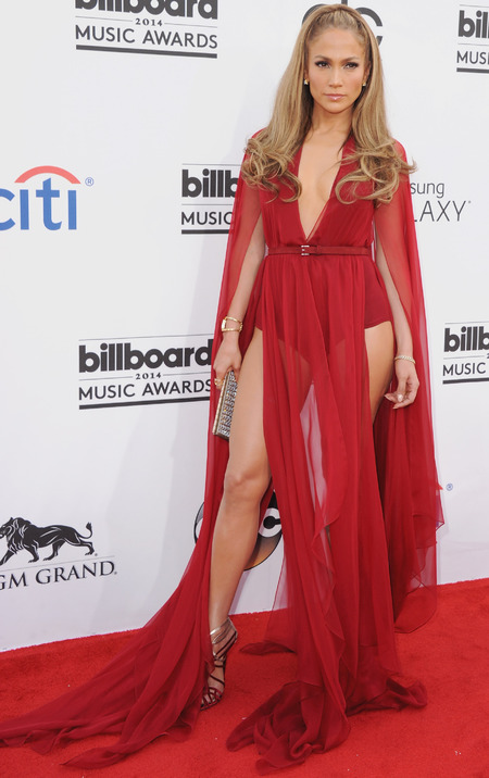 jennifer lopez-billboard awards 2014-red dress-nearly naked-green versace dress-gold blonde highlights-awesome celebrity body-handbag.com
