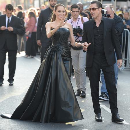 angelina jolie-brad pitt-maleficent world premiere-black versace dress-rubber-celebrity red carpet fashion-handbag.com