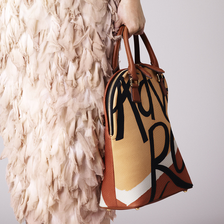 Burberry Prorsum Womenswear Spring_Summer 2015 Pre-Collection-brown and red words bloomsbury bag-handbag.com