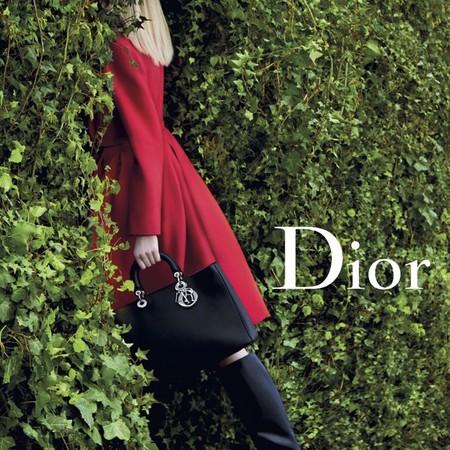 dior secret garden-handbag campaign-aw14-palace of versailles-red coat and lady dior handbag-handbag.com