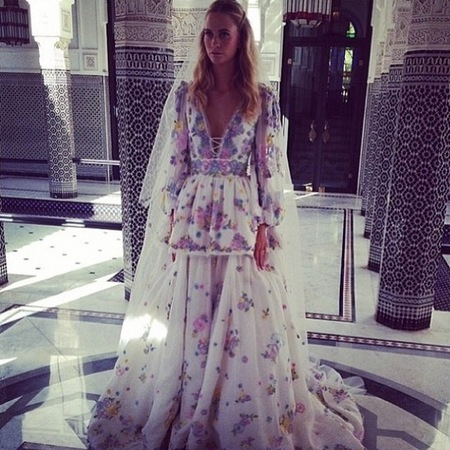 poppy delevingne-wedding dress-colourful floral print-emilio pucci-morroco-wedding part two-celebrity wedding dress-handbag.com