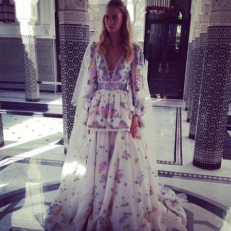 poppy delevingne-wedding dress-colourful floral print-emilio pucci-morroco-wedding part two-celebrity wedding dress-handbag.com
