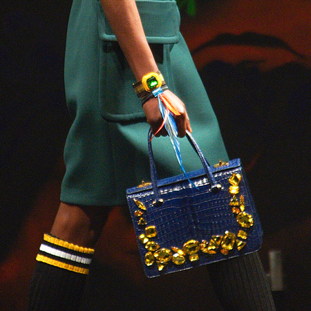 Blue and gold handbag