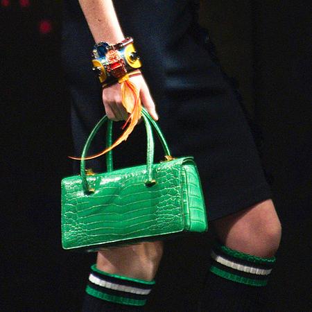 Green croc handbag