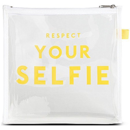 Selfridges - respect your selfie - clear plastic travel makeup bag - handbag.com