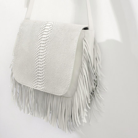 zara white messenger fringed bag - best white handbags - shopping bag - handbag