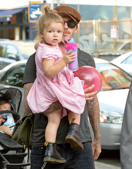 Harper Beckham and David Beckham - pink dress - stylish celebs - celebrity dads and kids - day bag - handbag.com