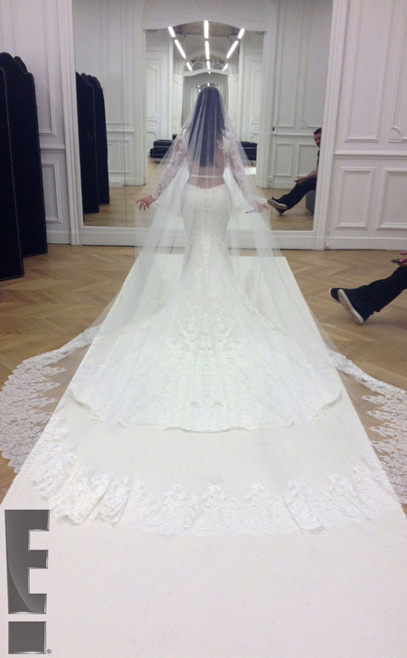 Kim Kardashian - wedding dress from the back - givenchy - riccardo tisci - veil - handbag.com