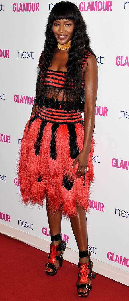 naomi campbell-glamour women of the year awards 2014-celebrity red carpet fashion-red and black dress-handbag.com