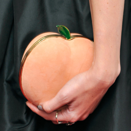 celebrity designer clutch bags-glamour women of the year awards 2014-daisy lowe-peach clutch-fruity shaped handbag-handbag.com