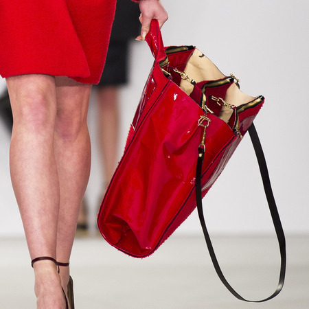 graduate fashion week 2014-best new handbag designers-sabrina pilkati red tall handbag-handbag.com