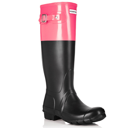 hunter black & pink wellington boots - secretsales hunter wellies sale - shopping bag - handbag