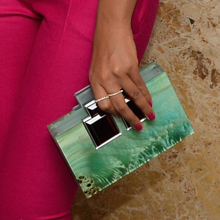 Solange Knowles' sea green clutch bag