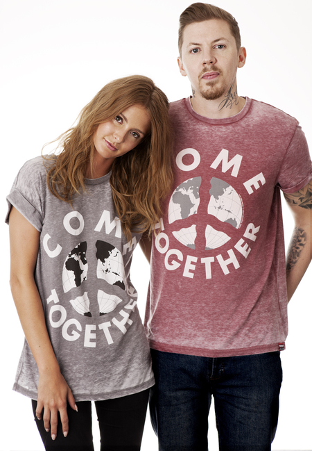 Professor Green and Millie Mackintosh-river island war child charity tshirt-come together top-john lennon-handbag.com