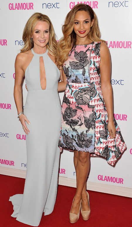amanda holden and alesha dixon-glamour women of the year awards 2014-celebrity red carpet fashion-blue dress-floral print trend-handbag.com