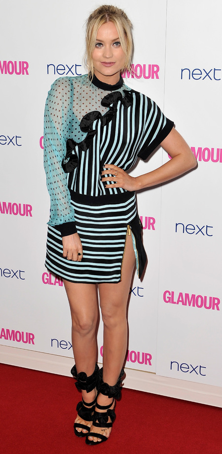 laura whitmore-glamour women of the year awards 2014-celebrity red carpet fashion-blue and green dress-handbag.com