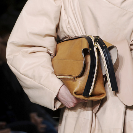 Chloe AW14 tan, black and cream clutch bag