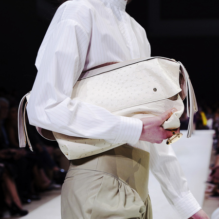Chloe AW14 cream ostrich leather clutch