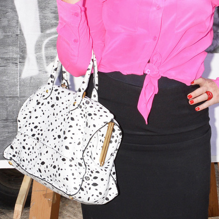 Lulu Guinness' white lips print handbag