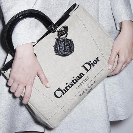 dior cruise 2015 collection-dior logo handbag-cream white bag with vintage christian dior logo-handbag.com
