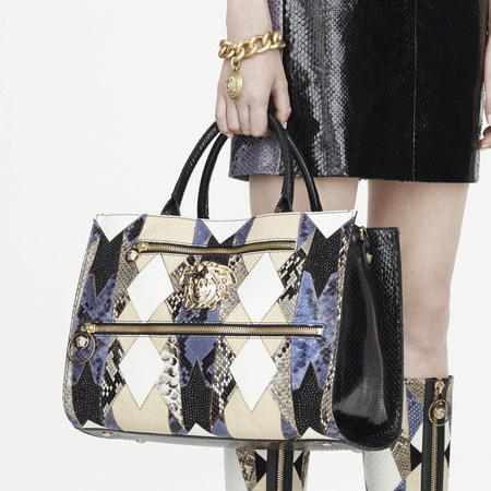 versace-resort pre-spring 2015 collection-handbags-big snale print handbag-handbag.com