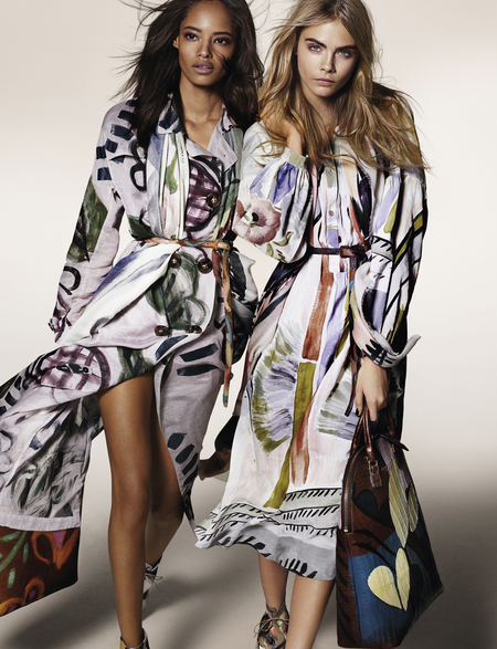 Burberry Autumn Winter 2014 Campaign-cara delevingne-malaika firth-floral illustrated prints-bloomsbury bag-handbag.com