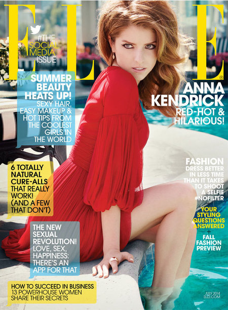 Anna Kendrick for Elle July issue - Anna Kendrick cover picture in red dress - celebrity interview - Pitch Perfect - day bag - news - handbag.com
